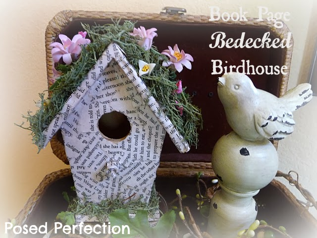 Book Page Bedecked Birdhouse