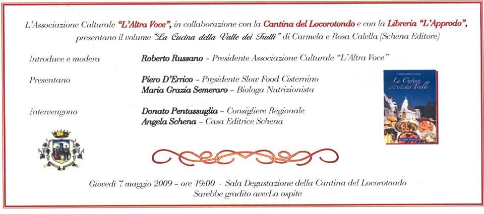 """07-05-2009 Locorotondo: """"Promozione della Dieta Mediterranea"""""""