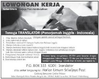 Tenaga Translator (Penerjemah Inggris - Indonesai)