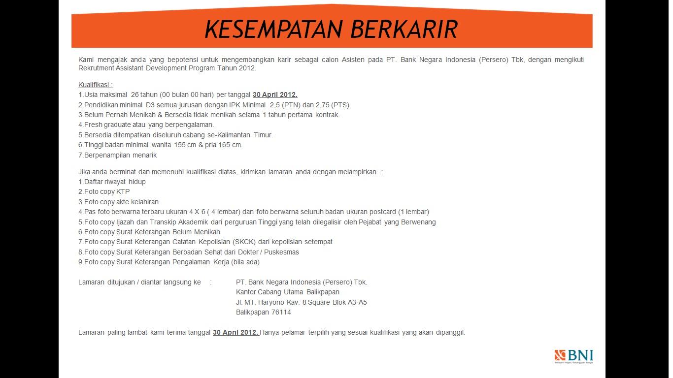 Info Lowongan Kerja Lowongan Kerja Ptfonda Mei 2012
