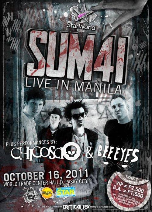 Sum 41 LIVE in Manila 2011, poster
