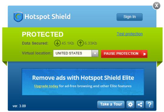 537187121a0a0a0e79130a082a7964201176 1HotspotShield PC Free 3.09 DashBoard 540x367 Hotspot Shield 3.42 Download Last Update