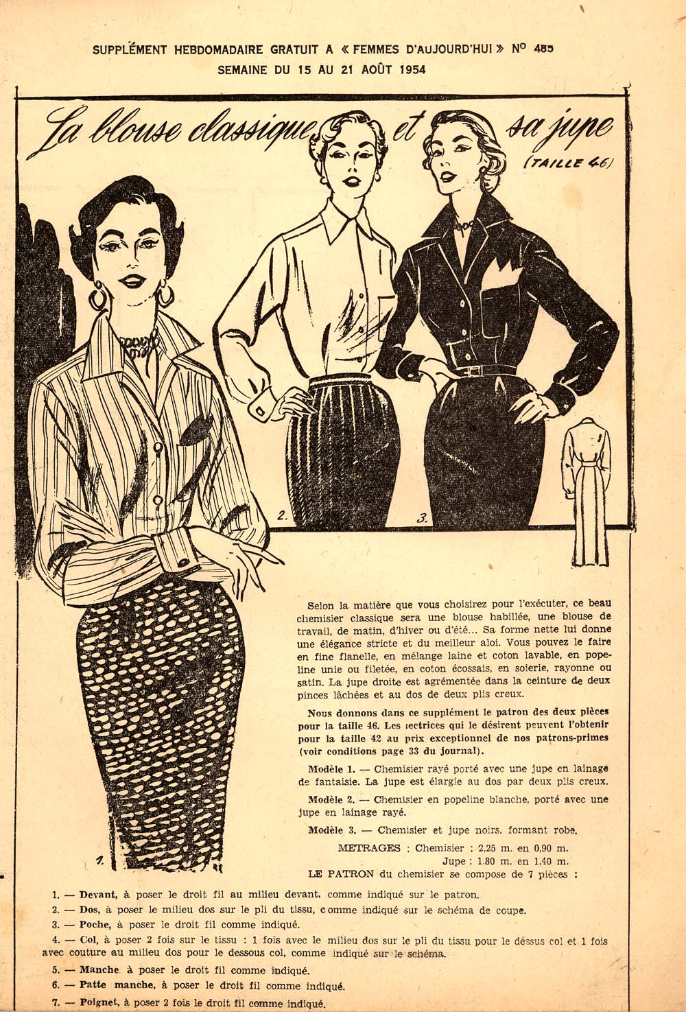 Petit main sauvage another vintage magazine this is the pattern included in this magazine a classic button down shirt and a straight skirt with two pleats at the back in size 46 jeuxipadfo Image collections