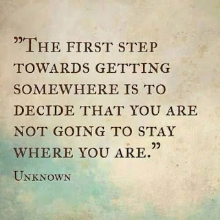 The first step towards getting somewhere is to decide that you are not going to stay where you are.