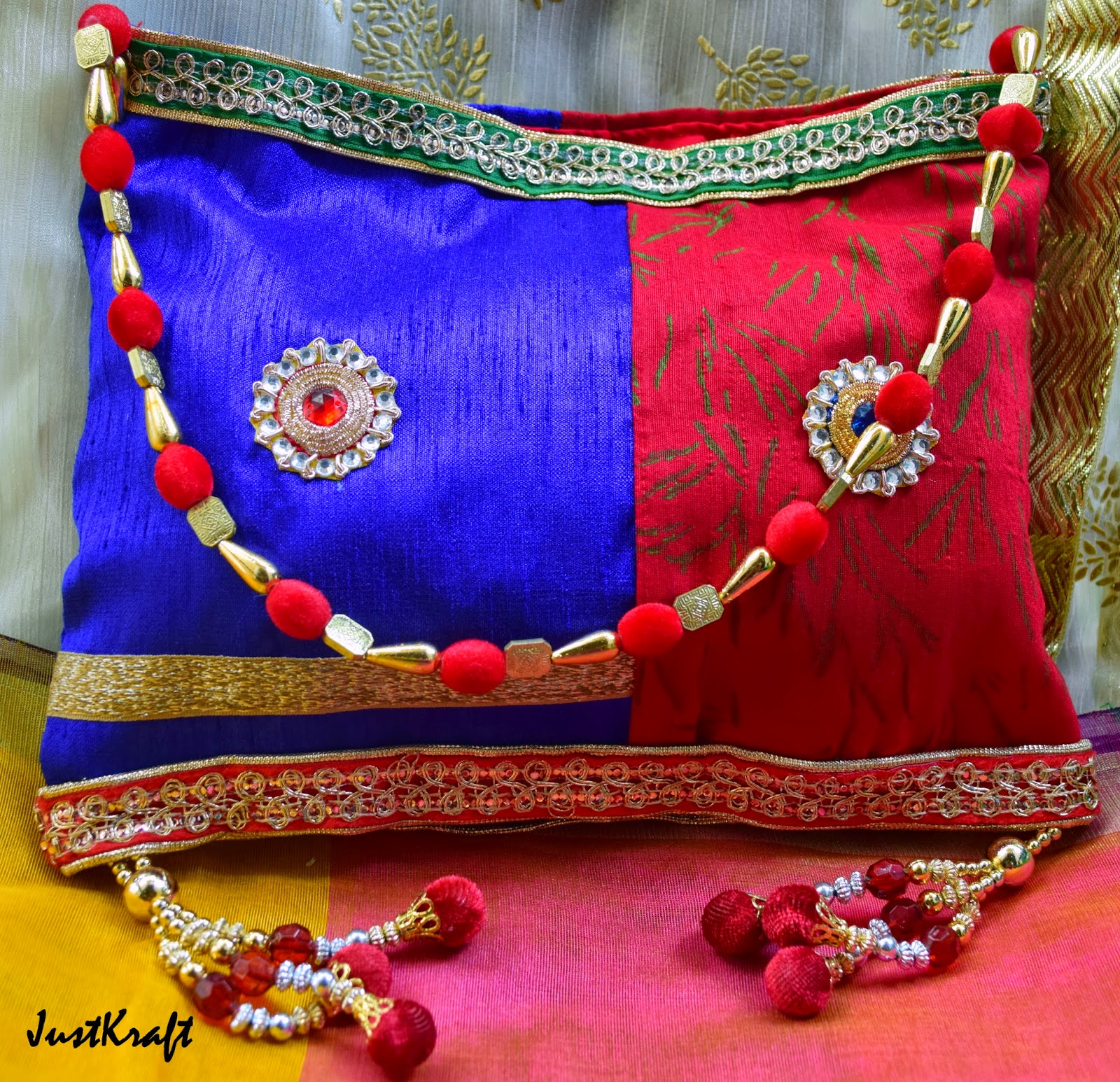 Double Colored Raw Silk Purse