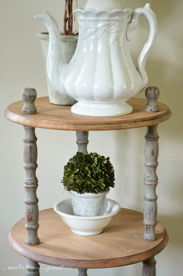 This rustic wood shelf is perfect for displaying ironstone and boxwood. {anderson + grant}