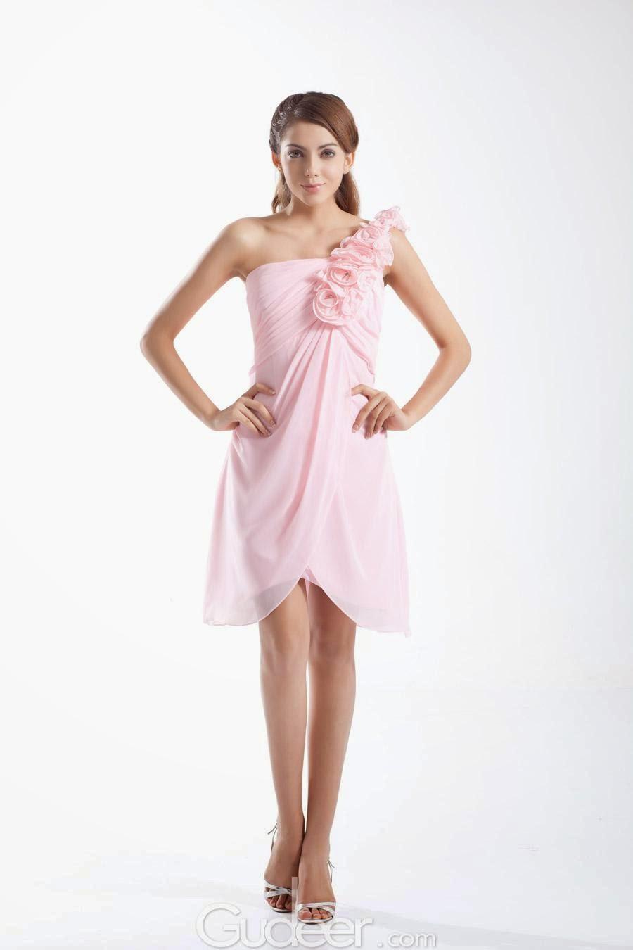 The gudeer bride short bridesmaid dresses 2015 collection light pink chiffon flowers one shoulder short bridesmaid dress ombrellifo Gallery