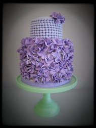 Purple Ruffle & Bead Cake
