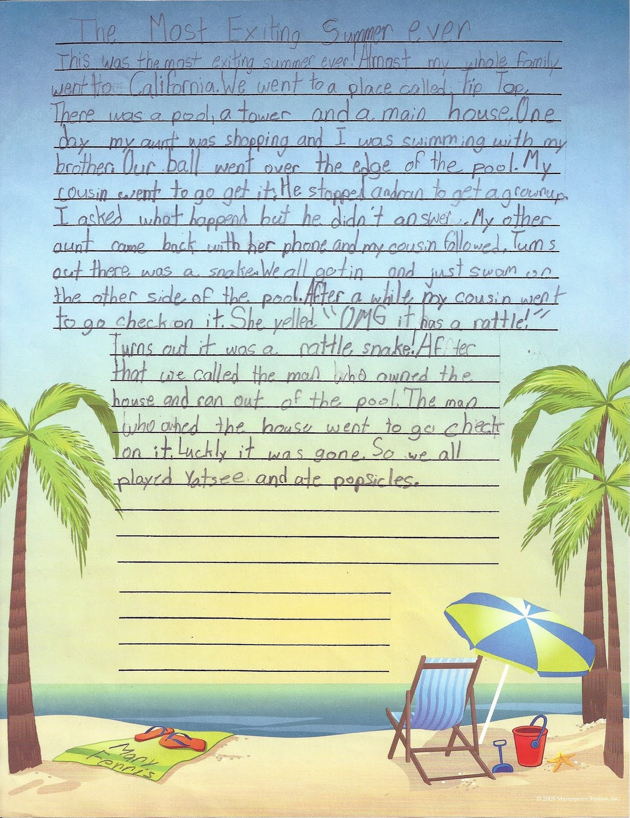 simple essay on how i spent my summer vacation On my last summer vacation i got to go on a cruise it was so much fun and i wish i could go again.