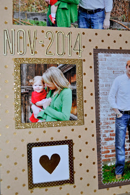 12x12 scrapbook layout kids child family gold foil polka dots kraft brown woodgrain transparency text typography red stripes white zigzag machine stiching stitched alphabet thanksgiving christmas holiday page glitter polaroid frame heart wood veneer chipboard