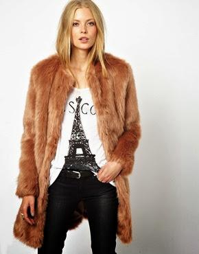 Longline faux fur coat in mink