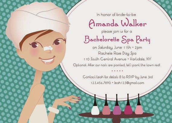 the glam finale spa day bachelorette party invitations