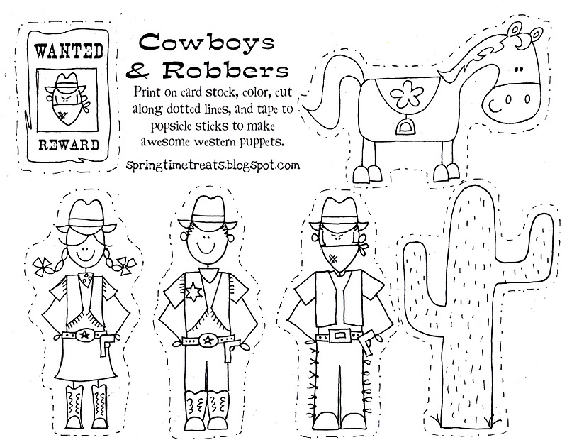 picture about Printable Puppets on a Stick identify Paper puppets (pirate, cowboy fairy) Absolutely free Printables