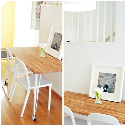 Ikea hack mesa de cocina con un tablero de roble de - Mesas de cocina pequenas ikea ...