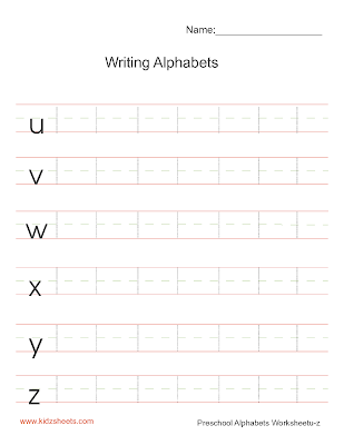 Writing Lower Case Alphabets u-z, Writing Alphabets u-z, Writing Worksheets