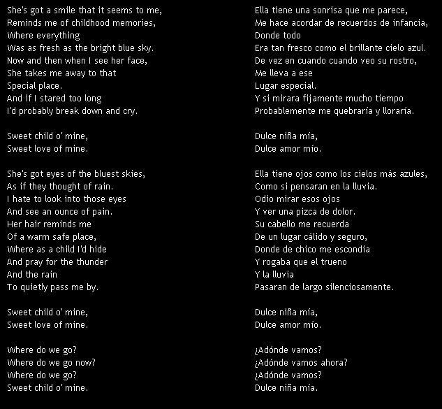 letra traducidas de guns n: