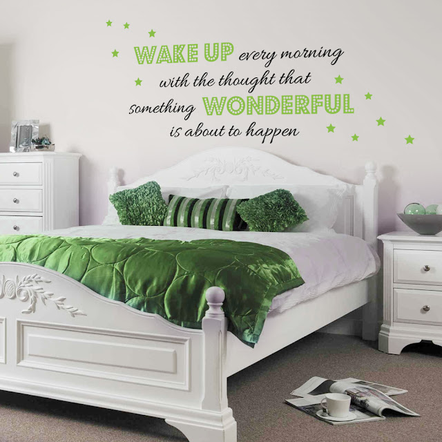 amazing wall stickers for modern bedrooms with combination white and green bed with three simple pillows