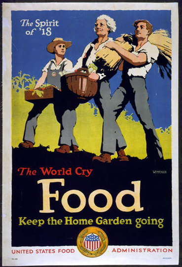 classic posters, food, food and drug administration, free download, graphic design, military, retro prints, vintage, vintage posters, war, The World Cry Food, Keep the Home Garden Going - Vintage US Food Administration Poster