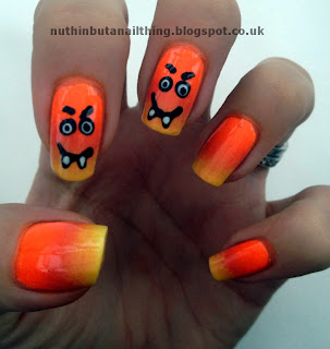 halloween candy corn nail art