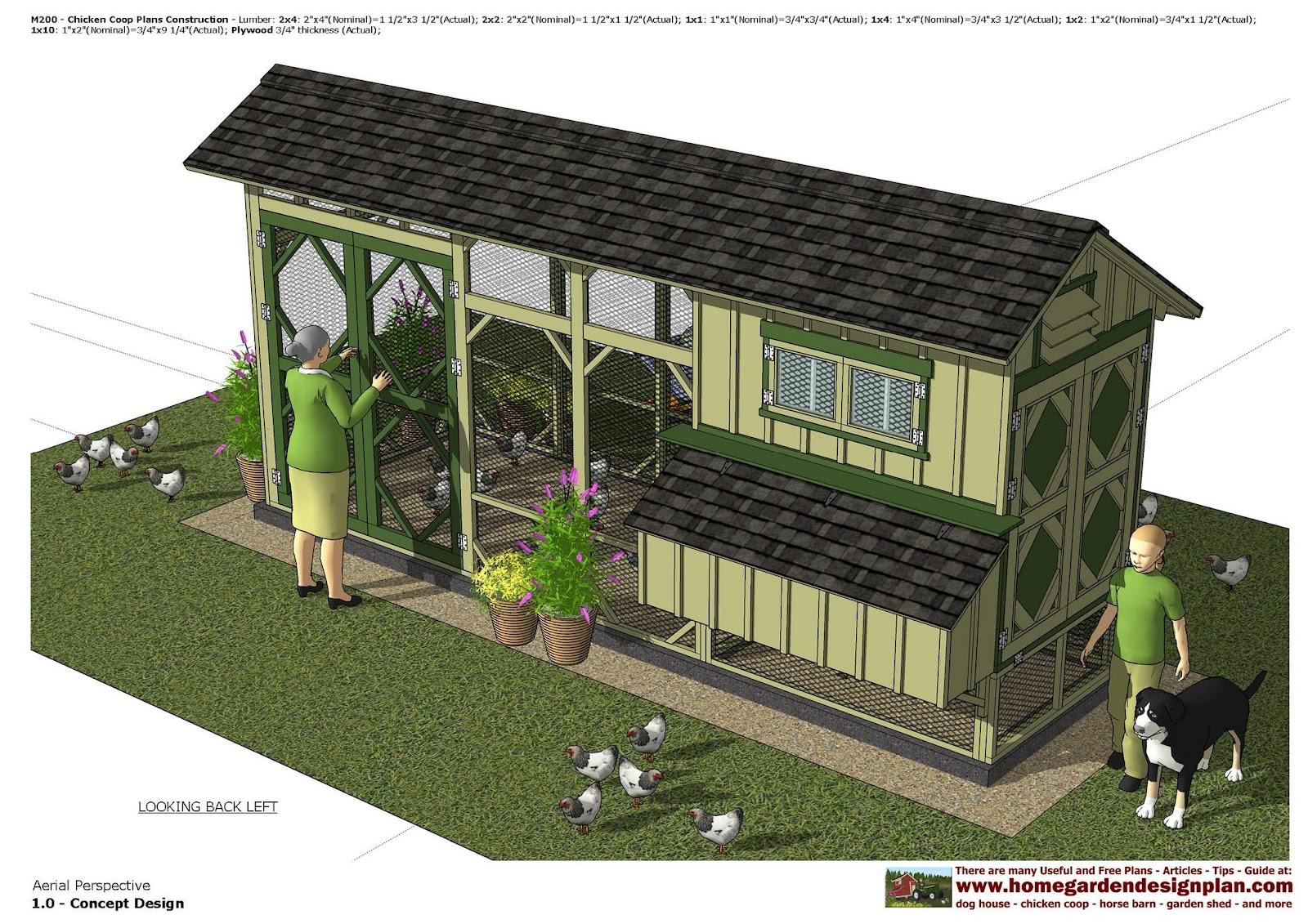 Home garden plans m200 chicken coop plans chicken for Chicken coop house plans