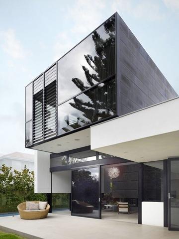 Fachada Moderna De Fromas Rectilineas Con Vidrio Termo Panel Arquitexs - Diseo-de-fachadas-de-casas