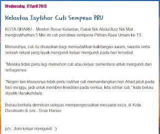 Kelantan Isytihar Cuti Peristiwa Pada 05 Mei 2013