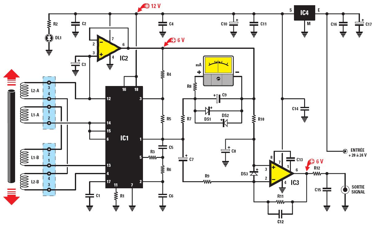 Un sismographe complet avec d tecteur pendulaire et interface pc schema electronique net - Schema electronique detecteur de mouvement ...