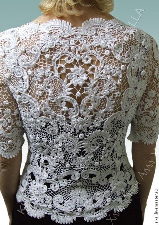 Irish Lace Knitting Pattern : Irina: Irish Lace. Crochet Top.