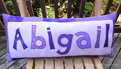 Abigail's name pillow, front view