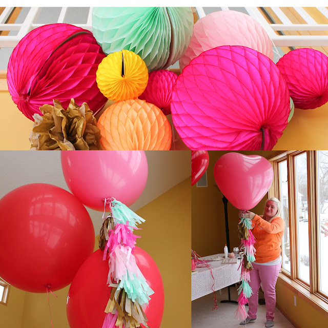 be crafty honeycomb balls and heart balloons