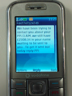 hoax ppi scam text PPI Insurance Claim Spam Text is 07747124749