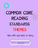 photo of Common Core Reading Standards Themes, PDF, reading, Common Core, Ruth S. TeachersPayTeachers.com