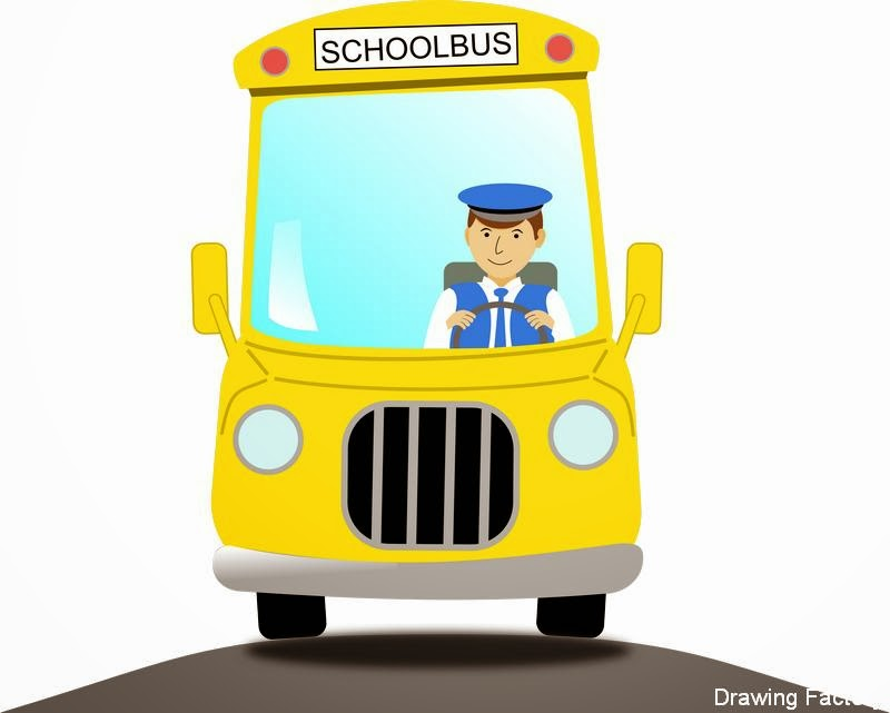 School bus driver drawing