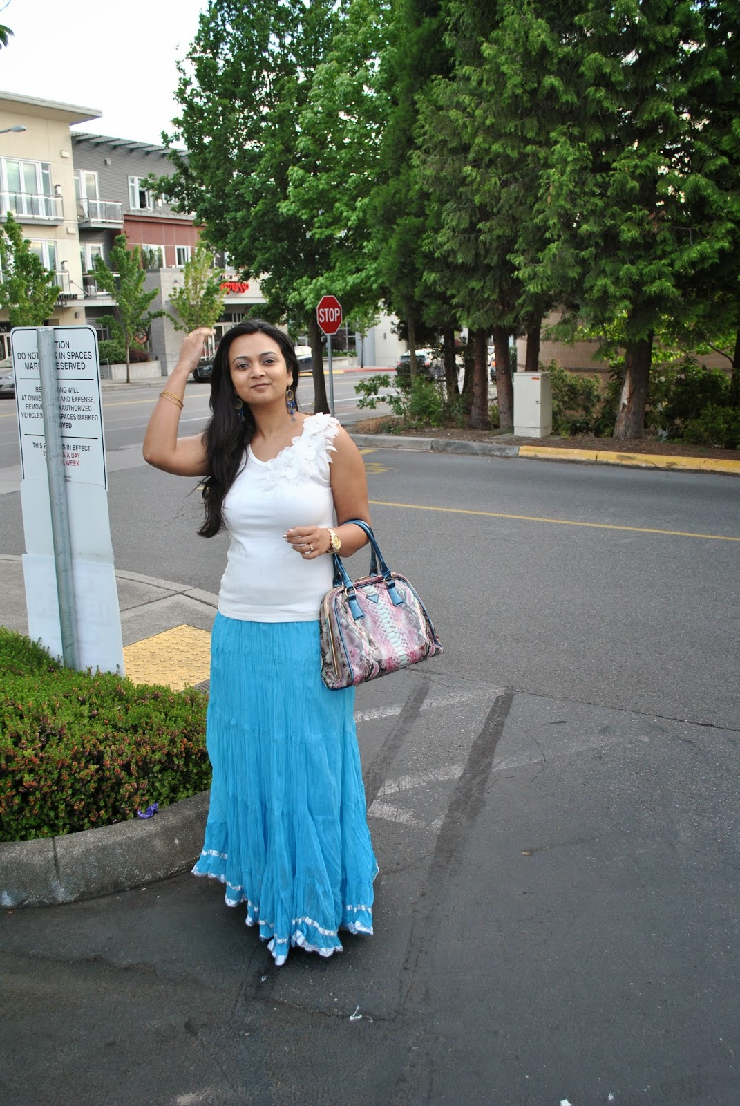 Seattle fashion blogger, Girl wearing long skirts, Indian summer dress tips, fashionable yet decent summer clothes, blue skirt and white top