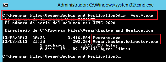 Veeam Backup: Extraer ficheros de la copia