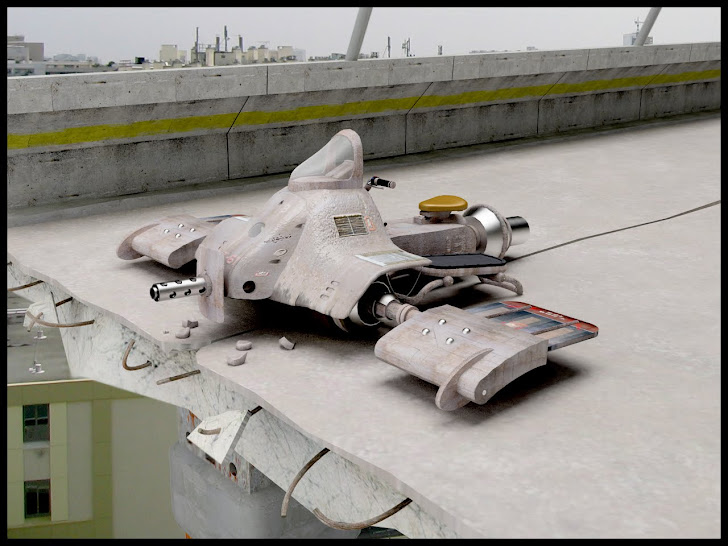 Rendu 3d d'un véhicule futuriste inspiré de l'univers de Akira Toriyama (le papa de dragon ball)