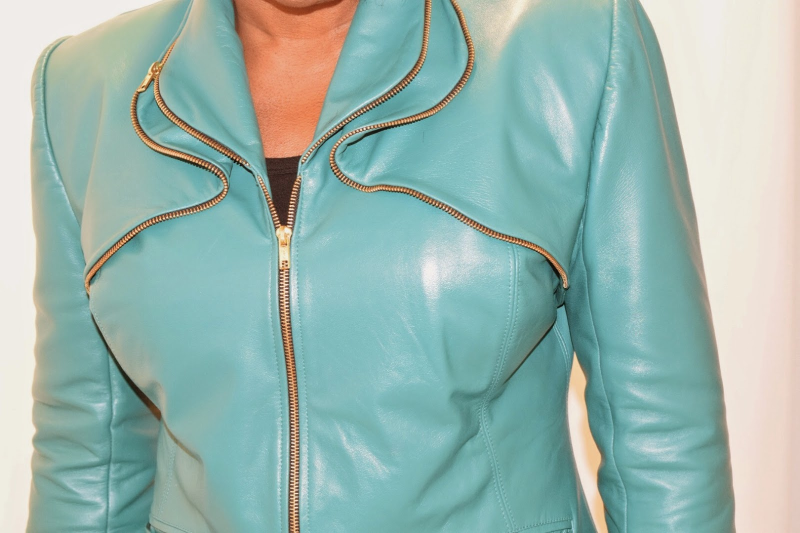 Teal, green lambskin leather jacket by sewtofit.com Sewing with leather and zippers.