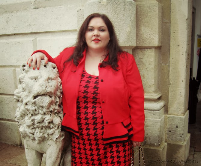 outfit plus size rosso e nero Gloockler
