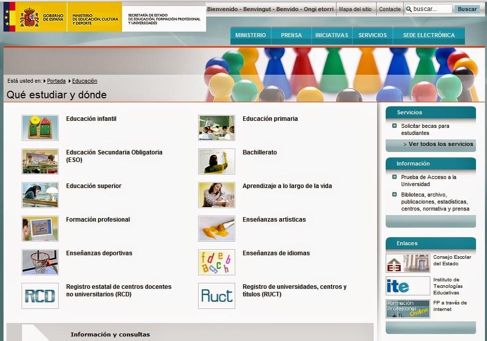Web do MEC: Toda a oferta educativa desde Infantil ata a Universidade