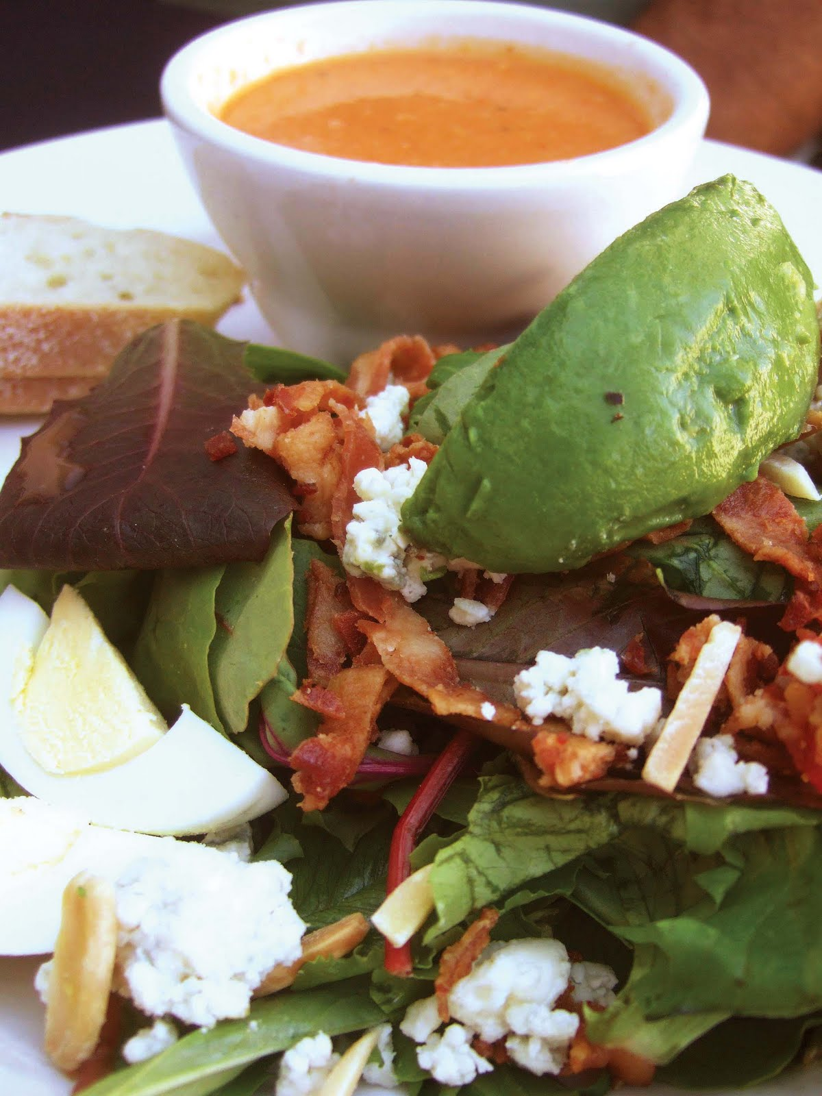 Cobb Salad and Seafood Bisque