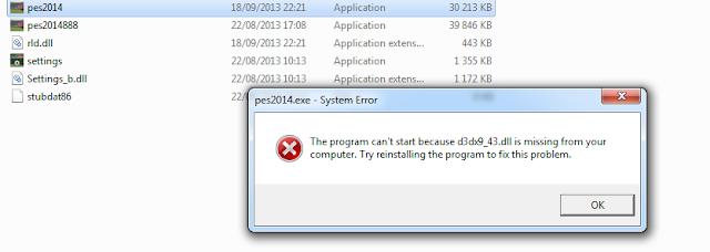 حل مشكل  PES 2014  d3dx9_43.dll