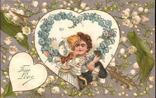 antique embossed valentine postcard post card with lilly of the valley and couple