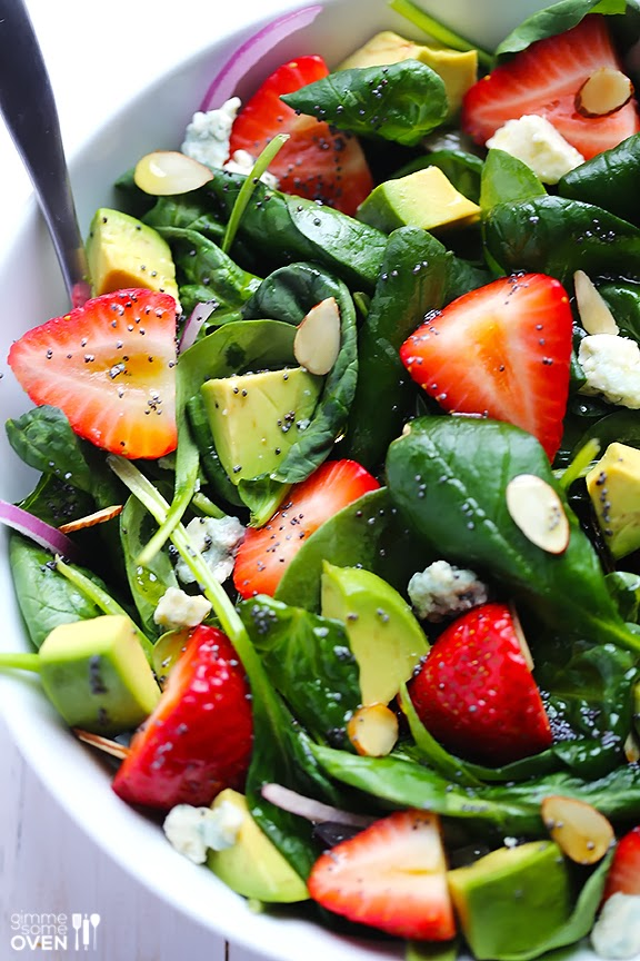 Life Fad: Avocado Strawberry Spinach Salad with Poppyseed Dressing