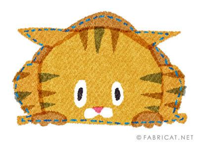 反省する茶トラの猫のイラスト