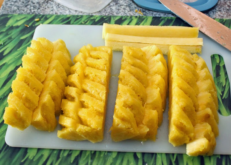Pineapple - slice lengthwise.