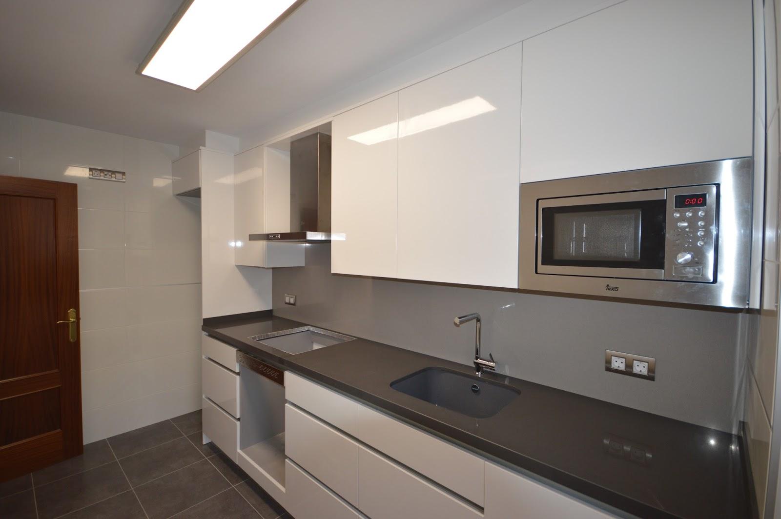 Reuscuina muebles de cocina en blanco brillo sin tiradores - Tiradores de muebles de cocina ...