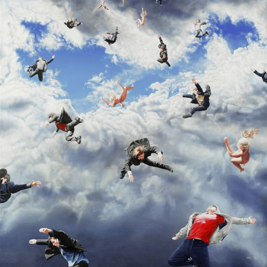 Joel Rea pintura hiper-realista surreal cães gigantes caindo céu Ascendência