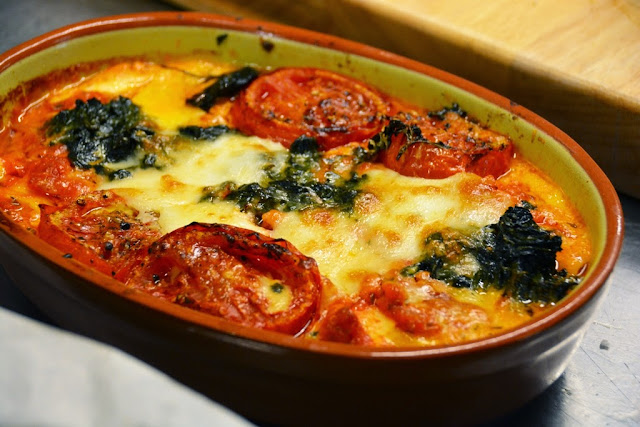 lasagna with tomato, spinach and eggs