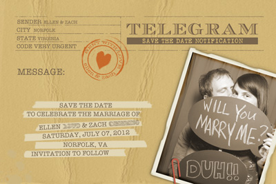 the invite was a vintage telegram that i purchased through telegramstopcom they are great they have a template that i formated my text to read in the old