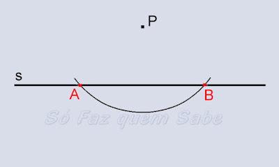 Determinação dos pontos A e B sobre a reta para traçar a perpendicular